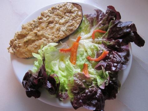 Albergínia farcida amb formatge