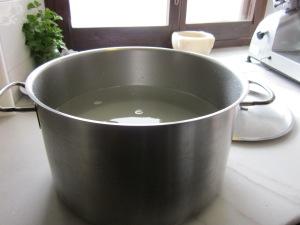 La cassola d'acer amb l'aigua freda i la sal
